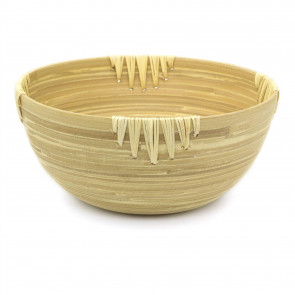 30cm Large Round Bamboo Presentation Bowl | Decorative Wooden Display Dish | Eco Friendly Bamboo Table Centerpieces