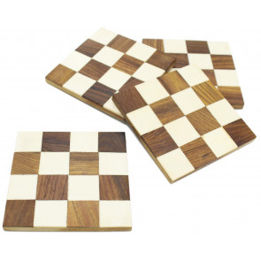 Lovely Set of 4 Wooden Inlay Coasters For Drinks Cup Mug Table Mats ~ Check Pattern