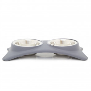 Large Grey Non Slip Double Pet Feeding Bowls | Feeding Station Stainless Steel Food Bowls | Dog Food Water Dish