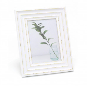 Antique White Wooden 5x7 Picture Frame | Freestanding Wall Mountable Single Aperture Photo Frame |10cm X 15cm Photo Holder