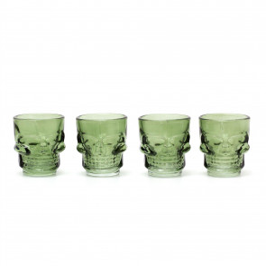 Set Of 4 Skull Shot Glasses | Spooky 3D Drinks Shooter Skulls | Novelty Skeleton Halloween Party Tableware