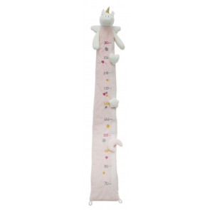 Deluxe Pink White Fabric Unicorn Childrens Measuring Height Chart