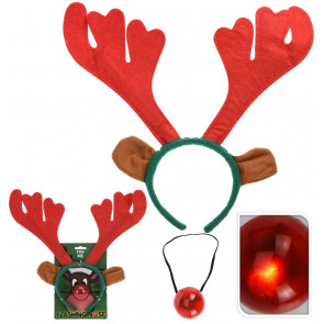 2 Piece Rudolph Reindeer Antlers Headband With Flashing Nose Festive Party Christmas Set