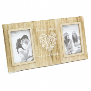 Freestanding Heart String Art Double Photo Frame | Wall Mounted Wooden Multi Picture Frame | 2 Aperture Photo Frames
