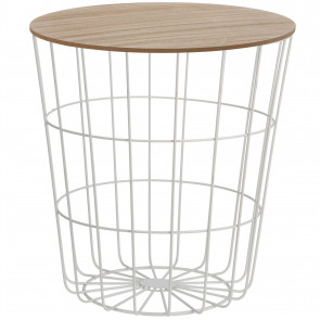 Modern Storage Side Table With Lid | Round Wooden Top White Wire Bedside Occasional Side | Metal Storage Basket Table - 43cm