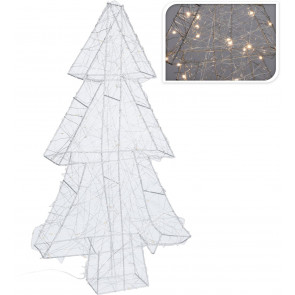 Silver Light Up LED Warm White Christmas Tree Freestanding Wire Table Decoration