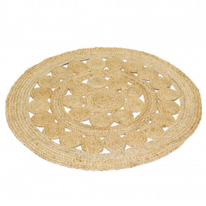 90cm Kasbah Round Braided Jute Area Rug | Woven Rugs Carpet Mat | Entrance Rug Circle Scatter Rugs