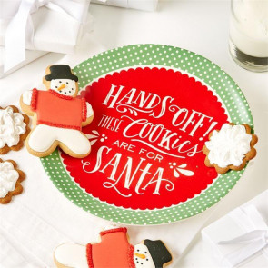 Hands Off These Cookies Are For Santa ~ Ceramic Treats Christmas Plate For Santa