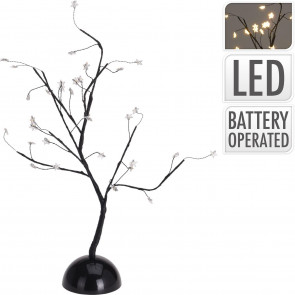 Black Illuminated Twig Tree Star Light Up Lamp ~ 32 LED Lights Battery Operated Table Centrepiece Decoration