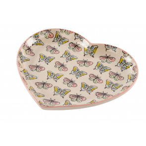 Beautiful Ceramic Love Heart Butterfly Jewellery Storage Trinket Tray - Display Plate Dish