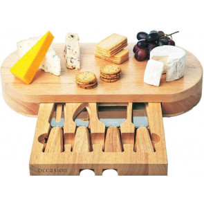 Occasion Oval Cheese Board With Integrated Drawer and 4 Specialist Cheese Knives