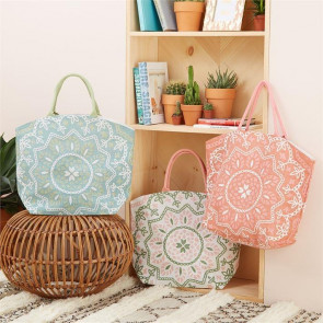 Large Cotton Canvas Mandala Design Jute Tote Reusable Beach Grocery Shopping Bag - Design Varies