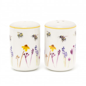 Fine China Busy Bee Floral Salt And Pepper Pots | Ceramic Salt And Pepper Shakers | Bumble Bee Cruet Sets