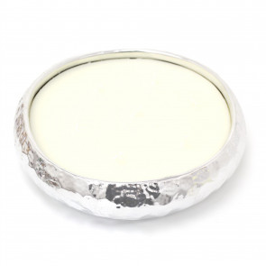 Elegant Kasbah 7 Wick Scented Candle Holder   Round Silver Ceramic Candle Display Bowl   Fragrance Candle And Holder Pot - 20cm