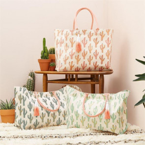 Cotton Canvas Cactus Design Jute Tote Reusable Beach Grocery Shopping Bag - Colour Varies