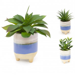 Ombre Glaze Artificial Succulent Potted Plant | Faux Plant And Ceramic Planter | Fake House Plant Home Decor - Design Varies One Supplied