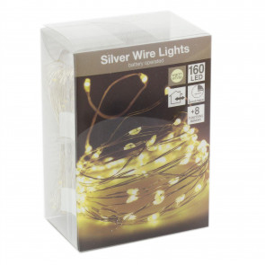 Silver Wire 160 Led Fairy Lights | Battery Operated String Lights Indoor Outdoor | Multi Function Lights