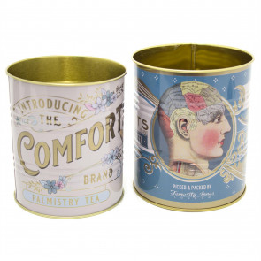 Set Of 2 Phrenology Palmistry Cheiro Retro Storage Tin - Decorative Display Can - Blue