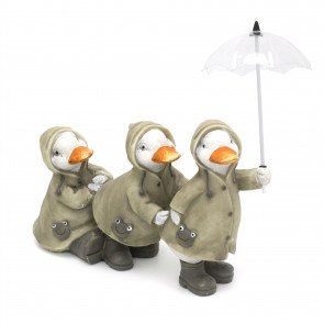 Cute Puddle Duck Family With Umbrella Ornament | Indoor Outdoor Three Ducks And Brolly Statue | Bird Sculpture Garden Decorations - Three Ducks