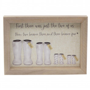Delightful Wellington Boots Family Plaque | Wall Hanging Sign Family Wall Art | Shabby Chic Home Accessories