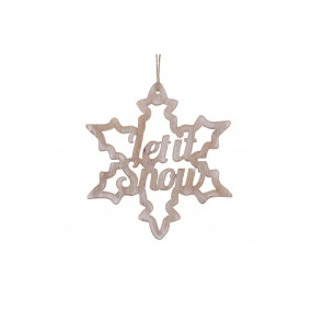 Natural Whitewashed Wooden Cut Out Snowflake Let It Snow Hanger Christmas Decoration