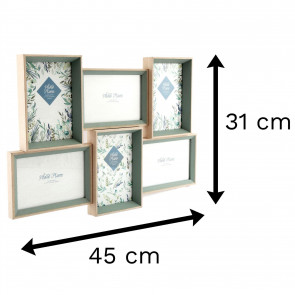 Olive Grove 6 Multi Aperture Photo Frame 6x4 | Wall Mounted Wooden 4x6 Picture Frame | Photo Collage Display Family Frames