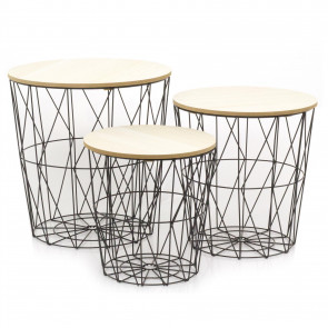 Set of 3 Round Wooden Top Wire Occasional Side Table | Geometric Coffee Tables With Storage | Living Room Side Tables | Wire End Tables