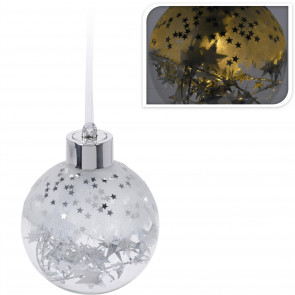 LED Light Up Christmas Silver Star Frosted Bauble Hanging Tree Decoration