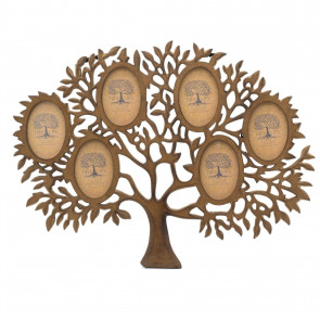 Mango Wood Tree Of Life Photo Frame | Wall Mounted Family Tree Multi Picture Frame | 6 Aperture Collage Photo Frames