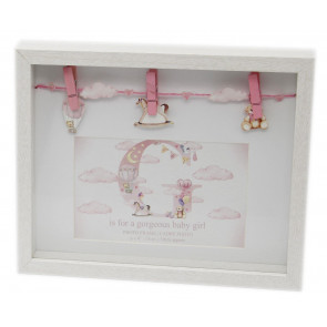 New Baby Clothes Line Peg Wooden Box Photo Picture Frame - Pink Baby Girl