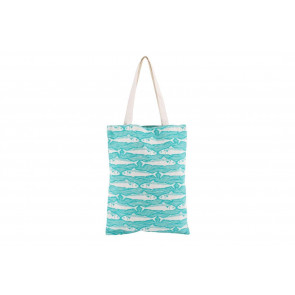 Printed Harbour Fish Design Reusable Cotton Shopper Tote Shopping Bag Teal