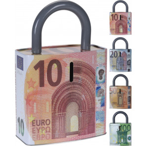 Euro Note Padlock Money Box Tin ~ Novelty Piggy Bank - Saving Pot Design Varies