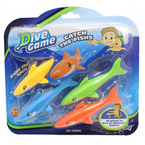 Children's Set Of 4 Underwater Dive Sticks Torpedo Fish Pool Toy