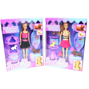 It's Girl Stuff Doll And Dog Pet Boutique Grooming Playset ~ Design Vary