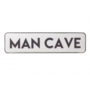 White Wall Mounted Man Cave Metal Plaque - Retro Hanging Shed Street Sign Wall Art - Ideal Father's Day Gift