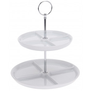 2 Tier Cake Stand - Porcelain Display Food Stand, Dessert Cake Tower Stand, 2 Layers Afternoon Tea Stands