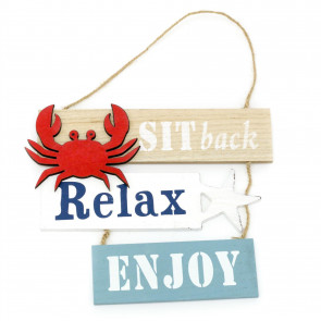 21cm Wooden Relax Hanging Seaside Sign | Nautical Decoration, Home Decoration