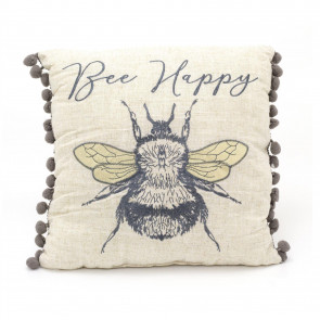 Bee Happy Pompom Scatter Cushion | Honey Bee Fabric Filled Sofa Cushion | Bumble Bee Bed Throw Pillow With Cover - 31cm