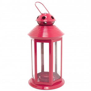 Colourful Neon Festival Party Garden Metal Tealight Lantern 25cm - Large Votive Tea Light Candle Holder ~ Red