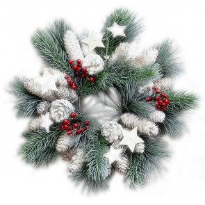 Rustic Frosted Christmas Star Wreath Decoration