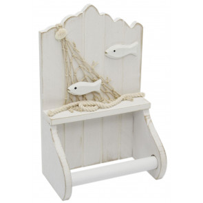 White Wooden Shabby Chic Nautical Bathroom Toilet Loo Roll Holder