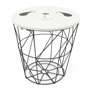 3 in 1 Children's Bedside Table Wire Storage Basket Stool - Fun Animal Design Kids Toy Box Chair Console Table ~ Dog