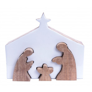 Mango Wood Christmas Nativity Scene Ornament ~ Traditional Mini Crib Scene Decoration