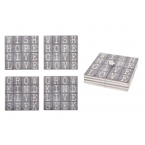 Lovely Wooden Set Of 4 Square Word Drinks Coasters ~ Cup Mug Table Mats