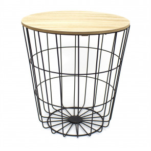Round Wooden Top Black Wire Occasional Side Table ~ Modern Storage Bedside Table With Lid