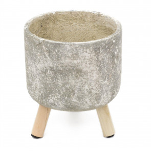 Rustic Grey And White Cement Plant Pot Holder | Cachepot Vase Indoor Garden Planter With Legs
