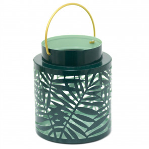 Olive Grove Leaf Lantern Hurricane Candle Lantern | Decorative Candle Holders For Home Garden Patio - 15cm