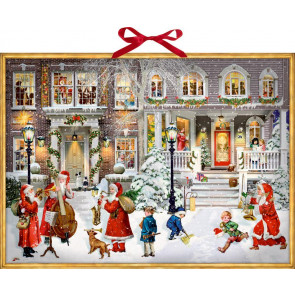 Large Deluxe Traditional Musical Christmas Carol Card Advent Calendar - Music In The Street