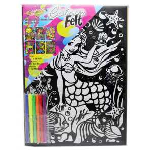 Kreative Kids Colourful Velvet Felt Art Picture Colouring Set For Children ~ Mermaid
