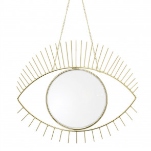 33cm Decorative Gold Eye Shaped Wall Mirror | Wall Hanging Metal And Glass Boho Mirror